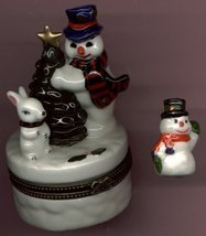 SNOWMAN & BUNNY RABBIT HINGED BOX - £8.48 GBP