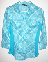ZAC & RACHEL Shirt SMALL Button Front Diagonal Plaid Teal White Women - $13.36