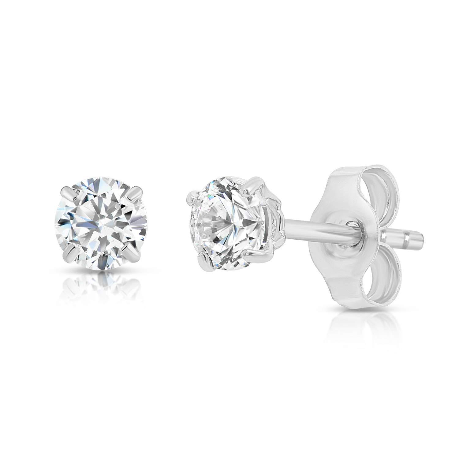 14k White Gold Solitaire Round Cubic Zirconia Stud Earrings with Gold butterfly  image 2