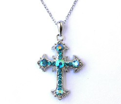 Womens Girls Ab Opalescent Rainbow Multicolor Cross Link Chain Necklace - $8.23