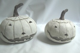 "2  Ghost pumpkins Jack-o-Lanterns White 3 and 4"" Halloween - $23.71"