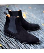 Handmade Men black Suede leather casual ankle boots, Men suede Chelsea b... - $179.99