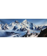 MOUNT EVEREST FROM BASE CAMP ORIGINAL KNIFE PAINTING  WITH ACRYLICS IN C... - $70.17