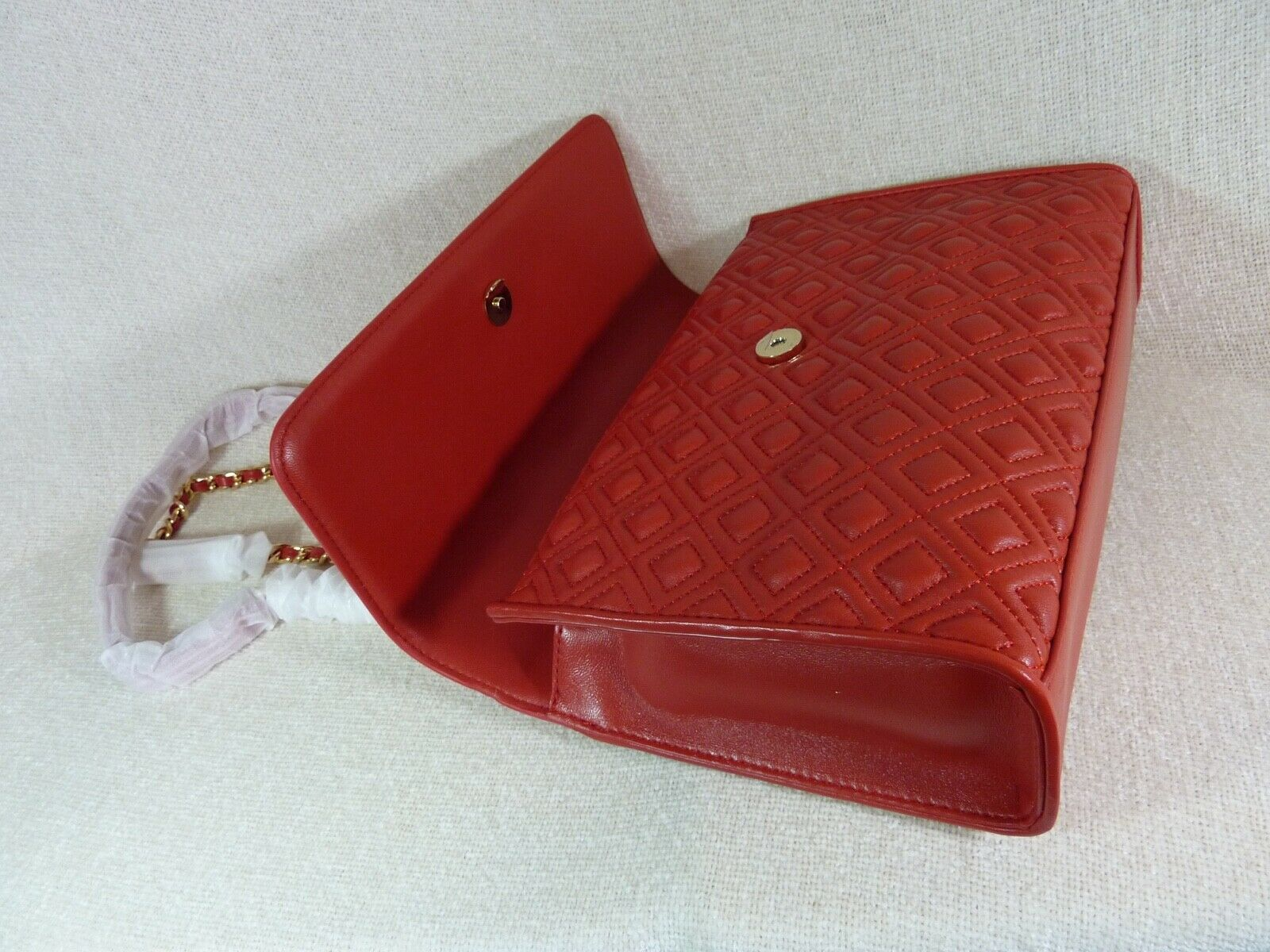 NWT Tory Burch Red Volcano Leather Fleming Convertible Bag