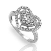 ¦Heart 925 Sterling Silver Diamond Ring »R221 - $59.50