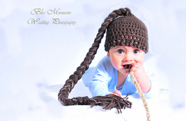 BABY BOY DARK BROWN BEANIE HAT WITH LONG BRAIDED TAIL PHOTO PROP  - $12.00
