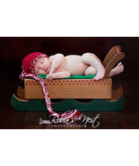 BABY BOY RED CHRISTMAS BEANIE WITH LONG BRAIDED... - $14.00