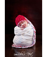 BABY GIRL RED CHRISTMAS BEANIE WITH LONG BRAIDE... - $14.00