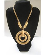Napier Brushed Gold Tone Bamboo Ad Piece Runway / Statement Necklace c. 1970s - $65.00