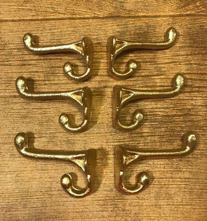 "Primary image for Gold Old Style Double Wall Hooks Cast Iron 2 3/4"" (Set of Six) 0170-01202G"