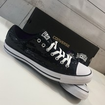 Converse CT All Star OX Black Sequin Sneaker Unisex Sz W 12/M 10 - NWB - 136079F - $40.81