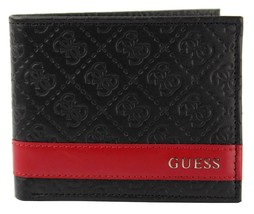 New Guess Men's Leather Credit Card ID Wallet Passcase Billfold Black 31GU13X008 image 2