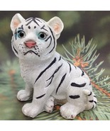 White BENGAL TIGER CUB FIGURINE Miniature Diorama Wild Cat Animal Gift A - $4.16