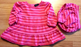 Girl's Size 3 M 0-3 Months Two Piece Faded Glory Pink Striped L/S Dress Set - $13.50