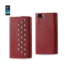 REIKO IPHONE SE/ 5S/ 5 STUDS WALLET CASE IN DARK RED - $12.99