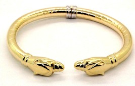 Women's 14K Yellow Gold Hinged Panther Cat Sapphire Bangle Bracelet #20621 - $989.01