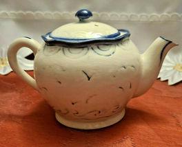 Vintage Japan Embossed Cobalt Blue w Sailboat Teapot, Hand Painted image 5