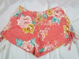 NWT Derek Heart Small Soft Short Orange Teal Floral Print Elastic Waist ... - $14.24