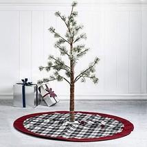 48'' Plaid Fabric Christmas Tree Skirt w/Red Edge Xmas Party Ornament Tk... - $74.25