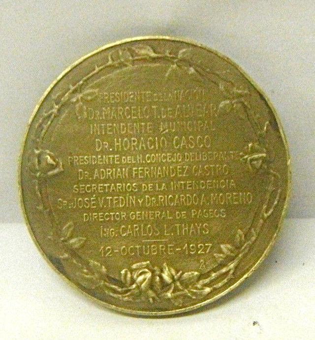 1927 Buenos Aires Sol Luz Plaza Irlanda Coin Medal Deco Andes Great Rare Design