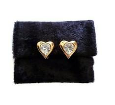Vintage Monet Gold Tone Large Rhinestone Heart Clip On Earrings  - $34.64
