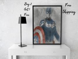 Captain America Art Print-Avengers Art Print-Sketch Prints-Fans Print-Ki... - $11.82