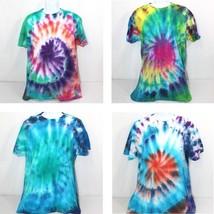 Tie Dye T-Shirts Mens Size Large, Handmade Retro Multi Color Hanes Comfort Soft - $18.88