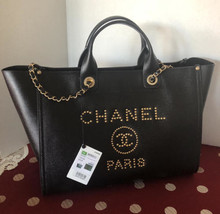NWT Auth CHANEL Gold Stud Black Caviar Leather Large Deauville Shopping Tote - $6,299.99