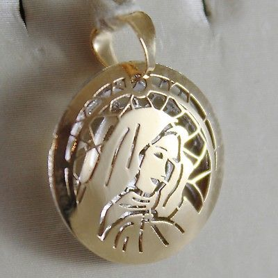 DOUBLE PENDENTIF EN OR JAUNE BLANC 750 18K, MADONE, VIERGE MARIE, MADE IN ITALY