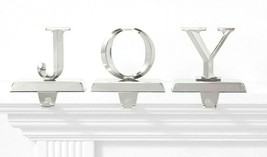 Set of 3 Joy Christmas Holiday Stocking Holder Silver Metal Wondershop NEW