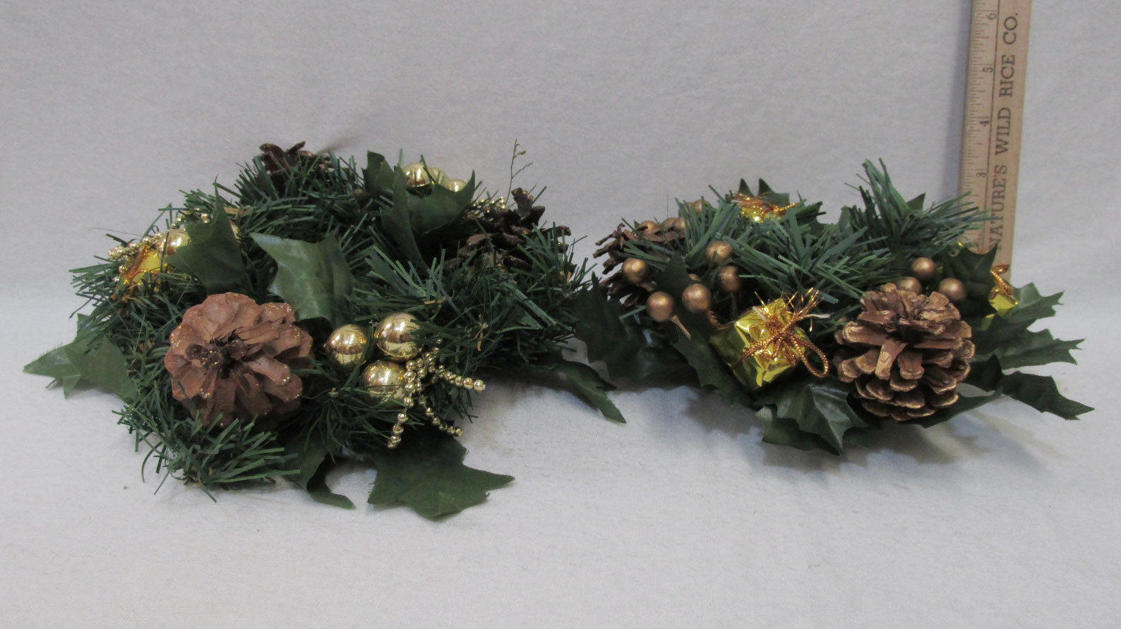 Primary image for 2 Christmas Candle Rings Faux Pine & Pine Cone w/ Shiny Gold Accents 2 Sizes