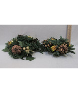 2 Christmas Candle Rings Faux Pine & Pine Cone w/ Shiny Gold Accents 2 S... - $12.86