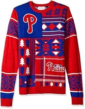 An item in the Sports Mem, Cards & Fan Shop category: MLB Philadelphia Phillies Patches Ugly Christmas Sweater, Red, Small NWT NEW