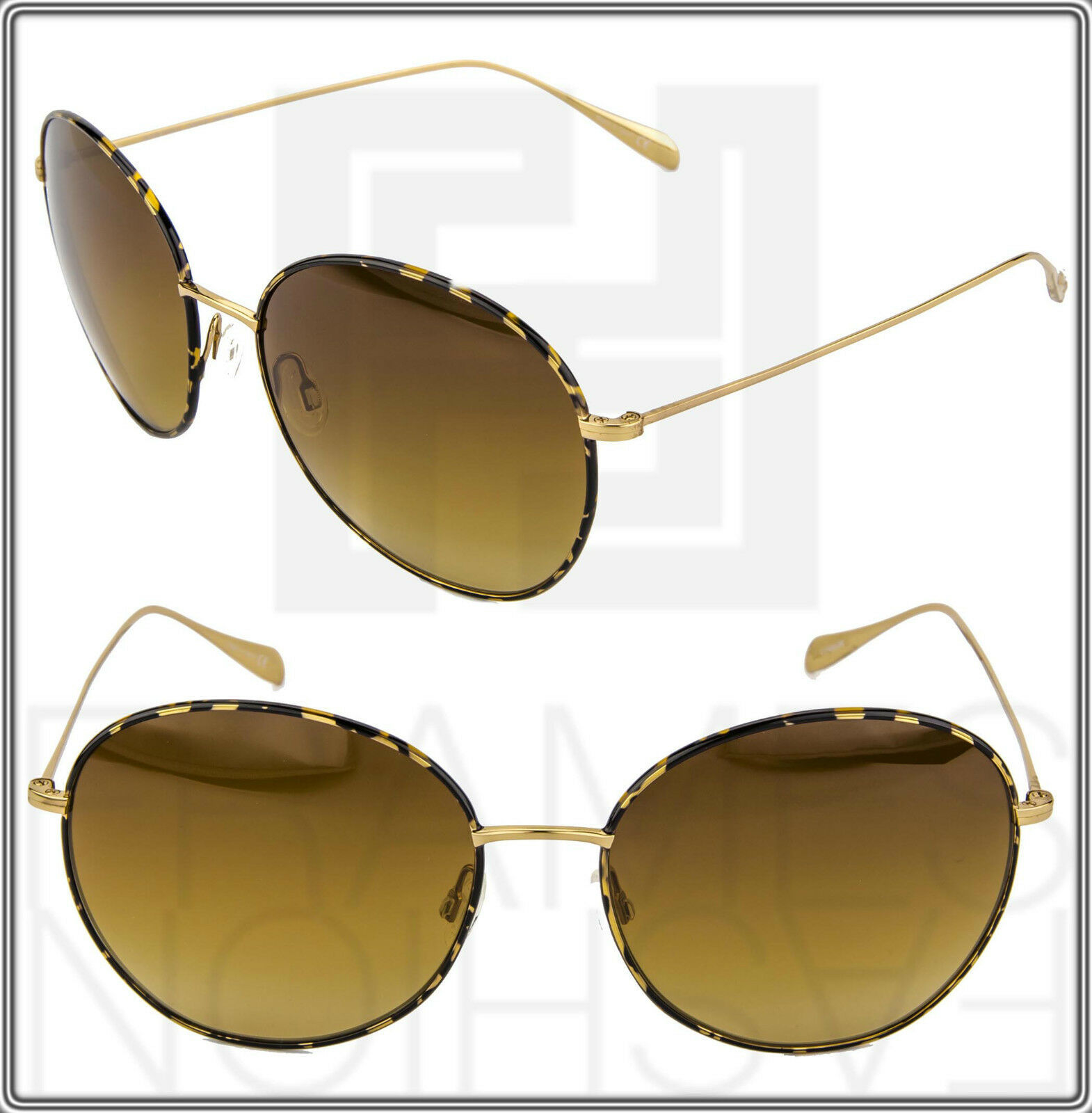 OLIVER PEOPLES BLONDELL Gold Titanium Brown Polarized Round Sunglasses OV 1102ST