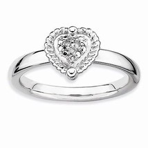STERLING SILVER STACKABLE EXPRESSIONS HEART DIAMOND RING - SIZE 6 - £33.29 GBP