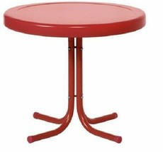 Round Red Metal Retro Vintage Patio Side Table Outdoor Furniture - $59.48