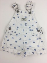 Oshkosh B'gosh Overalls Girls 6M White Blue Hearts Vestbak Cotton - $11.43