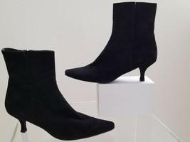 Stuart Weitzman Black Suede Ankle Boots Size 8 M Kitten Heels - $44.88
