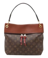 Auth LOUIS VUITTON Shoulder Bag Brown Faux Leather,Leather Large Logo RV... - $2,896.74