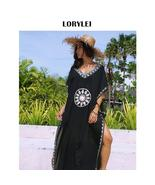 Oversized Black V Neck Moroccan Kaftan Dress Beach Women Summer Swimwear... - $46.95