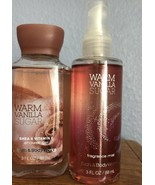 Bath & Body Works Warm Vanilla Sugar Shower Gel Fragrance Mist Set New 3 Oz - $9.74