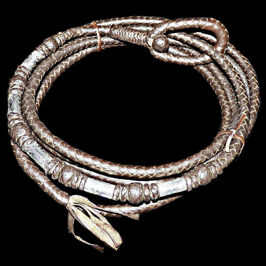 Vintage Sterling Silver Braided Leather Riata Rope Reata 8 Plait Lariat 12 ft