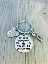 Runner Unstoppable Keychain, Runners Gifts, Believe in Yourself, Rhine M... - $12.99