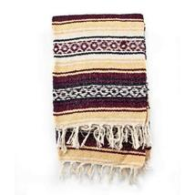 Mexican Blanket Serape colors burgundy, maiz & white - $28.26 CAD