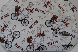 Fabric Placemats 4pc set with Fat Wine Chef on Bicycle, Cream Red Bistro image 2