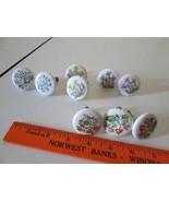 Vintage Japan Porcelain Floral Cabinet Drawer Pulls Knobs with Hardware lot - $30.00