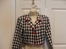 new in pkg Frederick's Of Hollywood bright and cute Bold Check Jacket medium 7-9 - $24.74
