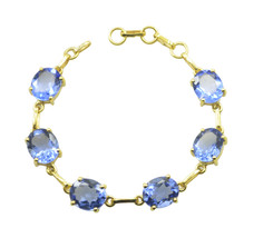 fine Blue Shappire CZ Gold Plated Blue Bracelet genuine usually US gift - $28.21