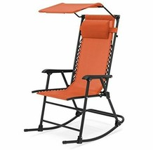 Zero Gravity Folding Chair Orange Canopy Rocker Lawn Outdoor Patio Furni... - $79.99