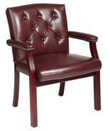 Vinyl Mahogany Finish Wood Padded Arms Traditional Visitor Guest Chair T... - $149.99